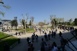 The area surrounding the Blue Mosque. Across the way you can see the spires of the Hagia Sophia.