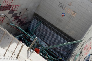 A barricaded entrance to the Taksim metro. There are many other entrances in the area that are open.