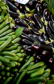 Cucumber and eggplant.