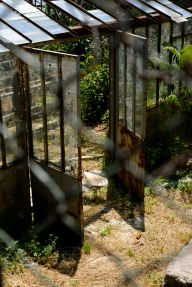 A set of abandoned greenhouses.