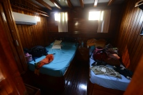 My room I shared with a fun Swedish woman. It was legitimately like a sauna inside, though, so we mostly used it for storage and spent all of our time on deck, even to sleep.