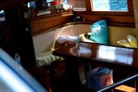 Below deck.