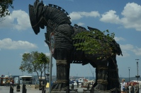 """The ferry stopped in the city of Çanakkale, where much of the movie """"Troy"""" was filmed. Supposedly this is the replica of the Trojan horse used in the film. Brad Pitt was not there."""