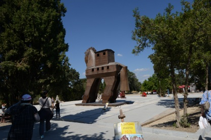 A model of the legendary Trojan Horse. In the Iliad, when the Greeks are unable to break into Troy using force, they construct a hollow horse and place a small number of Greek soldiers inside, leaving it outside the gates of Troy. The rest of the army hides away, and Troy takes the horse into the city walls. At night, the Greek soldiers climb out of the horse and open the city's gates from the inside so the Greeks can continue their attack. Our guide was doubtful that the story was historically accurate, given that the Grecian army would have had to hide pretty far away if they wanted to convince Troy they weren't around. In the time it would have taken them to get from their hiding place to the city, the Trojan soldiers could have easily taken out the few Greeks who were inside the horse and closed the gates again. A convincing argument, but the world may never know!