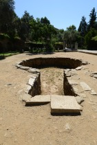 A baptismal pool once used to christen new converts. No one knows why it's shaped like a keyhole.