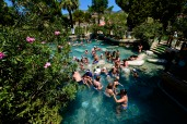 In a modern part of Hierapolis you could swim in the waters from the hot springs. In the natural pools, it's more difficult to submerge your entire body, so this swimming area allows visitors to take full advantage of the water's natural minerals and health benefits.