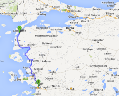 Route from Eceabat to Selçuk, along the western coast of Turkey.
