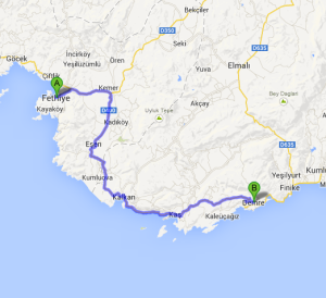 The cruise took me around this part of the Turquoise Coast, stopping in several different places between A and B.