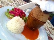 Pottery kebap! Meat and vegetables stewed inside a clay pot, then broken open tableside.