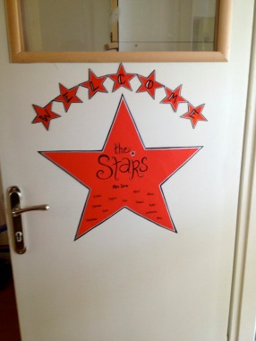 My room was designated the Red Room. I couldn't think of a cute red animal, so I opted for the Stars.