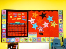 One of two large bulletin boards. This is the area where I hold Circle Time.