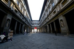 In the courtyard of the Uffizi.