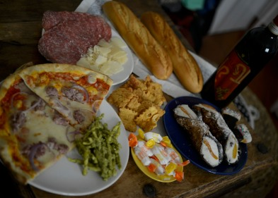Our Christmas spread! Leftover pizza, Italian meat and cheese, fresh bread, and cannoli. Oh yeah.