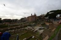 Walking along the Forum.